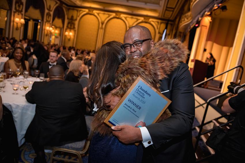 Joseph K. West, winner of the Lifetime Achievement Award celebrates